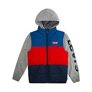 Big Boys Colorblocked Hooded Logo Vest