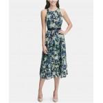 Petite Belted Floral Chiffon Midi Dress