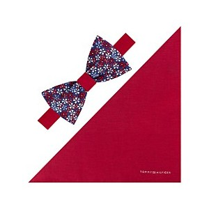 Mens Floral To-Be Tied Bow Tie & Solid Pocket Square Set
