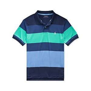 Big Boys Striped Stretch Performance Lisle Polo Shirt