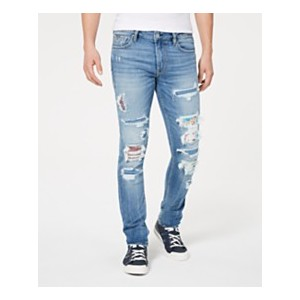 Mens Skinny-Fit Stretch Patched Destroyed Jeans