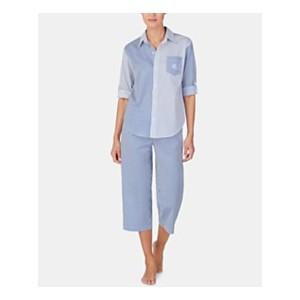 Petite Mixed-Stripe Top and Capri Pants Cotton Pajama Set
