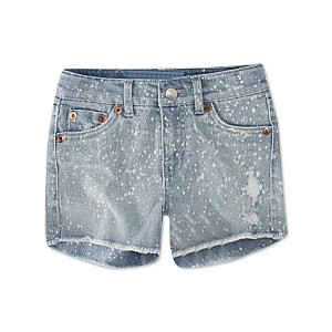 Big Girls Bleach Splatter Denim Shorts