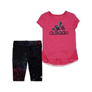 Little Girls 2-Pc. Leap Logo Top & Printed Tights Set