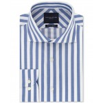 Mens Slim-Fit Non-Iron THFlex Supima Stretch Bold Stripe Dress Shirt