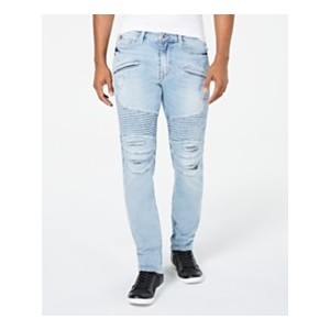 Mens Slim Tapered-Fit Stretch Destroyed Moto Jeans
