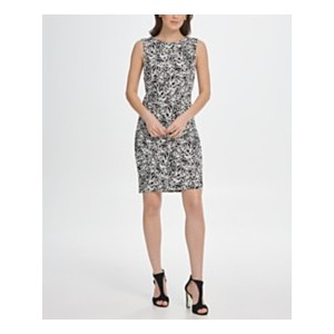 Scribble Print Ruched Jersey Sheath Dress