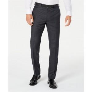 Mens Classic-Fit UltraFlex Stretch Charcoal/Blue Stripe Suit Pants