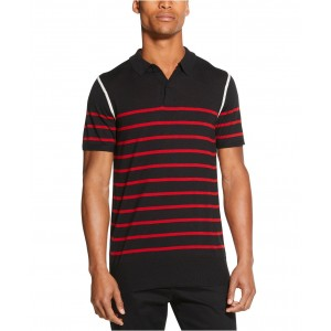 Mens Colorblocked Stripe Sweater Polo Shirt