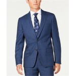 Mens Modern-Fit Stretch Blue/Red Plaid Suit Separate Jacket