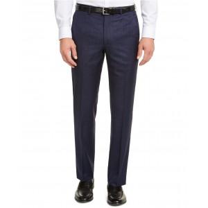 Mens Classic-Fit UltraFlex Stretch Blue Check Suit Pants
