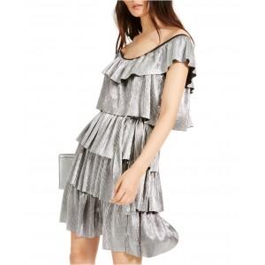 Metallic Tiered Off-The-Shoulder Dress