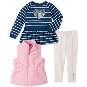 Baby Girls 3-Pc. Vest, Striped Top & Leggings Set