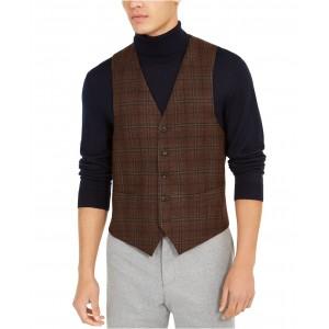Mens Classic-Fit Brown Plaid Vest