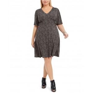 Plus Size Animal-Print A-Line Dress