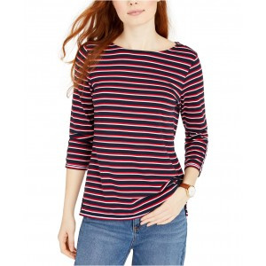 Boat-Neck Striped Top