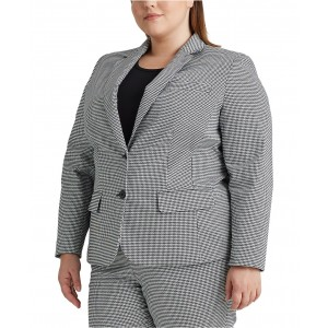 Plus-Size Pinstripe Cotton-Twill Blazer