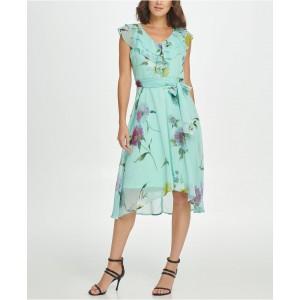 Double Ruffle V-Neck Midi Dress