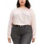 Trendy Plus Size Lily Shirred Polka-Dot Top