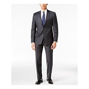 Mens Classic-Fit Gray Windowpane UltraFlex Suit