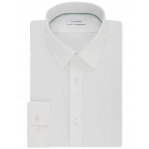 Mens STEEL Slim-Fit Non-Iron Performance Stretch Point Collar White Dress Shirt
