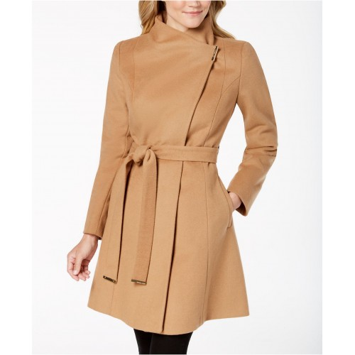 마이클 코어스 Petite Asymmetrical Belted Coat, Created for Macys