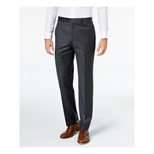 Mens Classic-Fit Windowpane Flannel Dress Pants