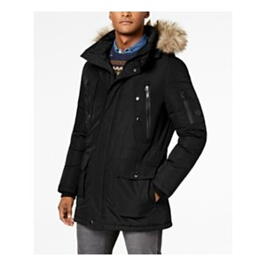 Mens Long Snorkel Coat with Faux-Fur Trimmed Hood
