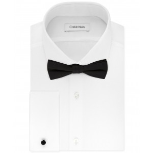 X Mens Extra-Slim Fit Formal White French Cuff Dress Shirt & Pre-Tied Bow Tie