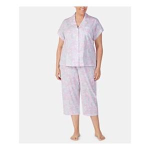 Plus-Size Printed Notch Collar Top and Capri Pajama Pants Set