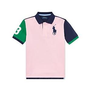 Big Boys Colorblocked Big Pony Cotton Mesh Polo Shirt