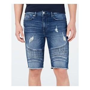 Mens Pintuck Moto Denim Shorts