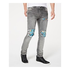 Mens Skinny-Fit Stretch Pintucked Destroyed Jeans