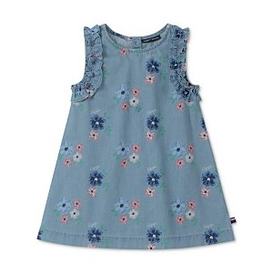 Baby Girls Floral-Print Cotton Chambray Dress