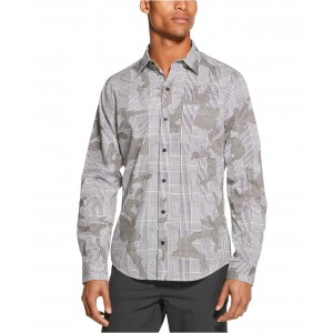 Mens Prince of Wales Stretch Camouflage Plaid Shirt