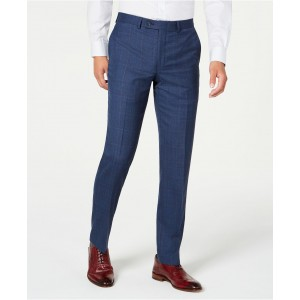 Mens Modern-Fit Stretch Blue/Red Plaid Suit Separate Pants