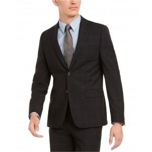 Mens Skinny-Fit Infinite Stretch Black Plaid Suit Separate Jacket