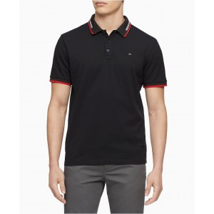 Mens Athleisure Regular-Fit Stretch Tipped Polo Shirt