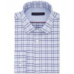 Mens Fitted Performance Stretch Blue Check Dress Shirt