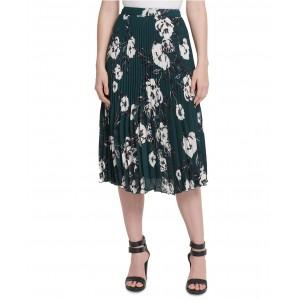 Petite Pleated Printed Midi Skirt