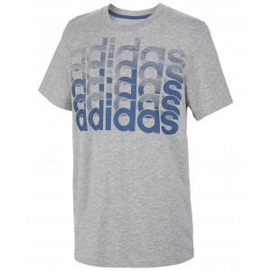 Big Boys Heathered Repeating Logo T-Shirt