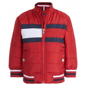 Baby Boys Eli Red Quilted Colorblocked Bomber Jacket