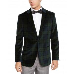 Mens Modern-Fit Green/Navy Blue Plaid Velvet Sport Coat
