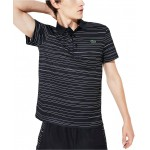 Mens Performance Stretch Striped Polo Shirt