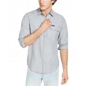 Calvin Klein Mens Long Sleeve Chambray Stripe Shirt