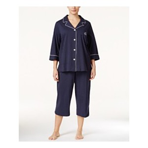 Plus Size Button-Front Top and Pants Pajama Set