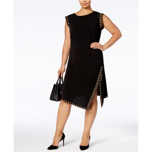 Plus Size Studded Asymmetrical-Hem Dress