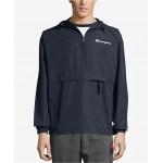 Mens Packable Half-Zip Hooded Water-Resistant Jacket
