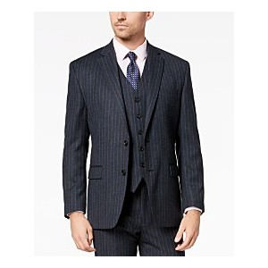Mens Classic-Fit UltraFlex Stretch Charcoal/Blue Pinstripe Suit Jacket
