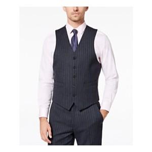 Mens Classic-Fit UltraFlex Stretch Charcoal/Blue Pinstripe Suit Vest